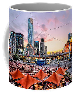 Coffee Mug featuring the photograph City Sunset by Ray Warren