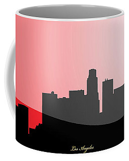 Cityscapes- Los Angeles Skyline In Black On Red Coffee Mug