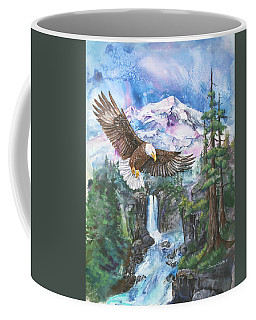 Coffee Mug featuring the painting Cleared For Landing Mount Baker by Sherry Shipley