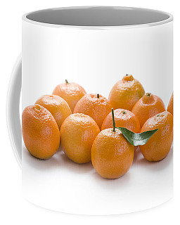 Coffee Mug featuring the photograph Clementine Oranges On White by Lee Avison