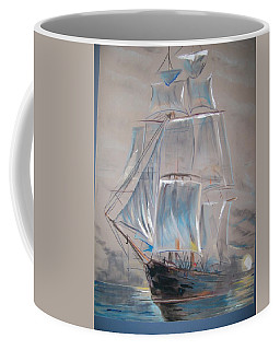 Coffee Mug featuring the mixed media Clipper In Mist by Peter Suhocke