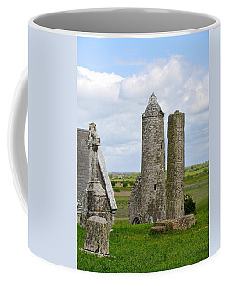 Coffee Mug featuring the photograph Clonmacnoise Towers by Suzanne Oesterling