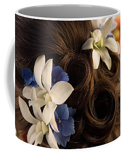 Close-up Of Flowers In A Brides Hair Coffee Mug