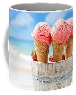 Close Up Strawberry Ice Creams Coffee Mug