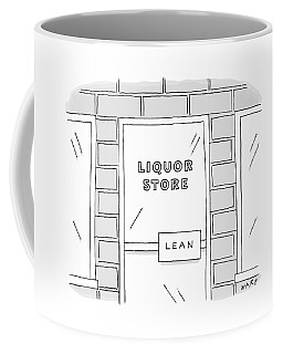 Close Up View Of A Liquor Store With Door Handle Coffee Mug
