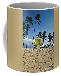 Closed Lifeguard Shack On A Deserted Tropical Beach With Palm Tr Coffee Mug