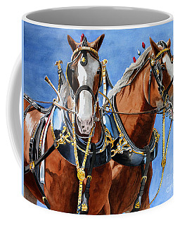 Coffee Mug featuring the painting Clydesdale Duo by Debbie Hart