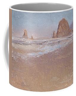 Coastal Escape  Cannon Beach Oregon And Haystack Rock  Coffee Mug by Karen Whitworth