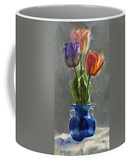 Cobalt And Tulips Still Life Painting Coffee Mug