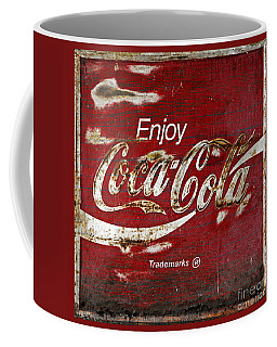 Coca Cola Red Grunge Sign Coffee Mug by John Stephens