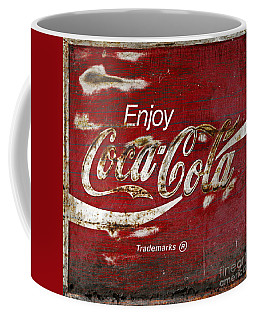 Coca Cola Wood Grunge Sign Coffee Mug by John Stephens