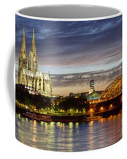 Cologne Cathedral With Rhine Riverside Coffee Mug by Heiko Koehrer-Wagner