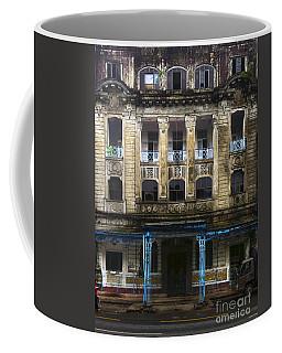 Coffee Mug featuring the photograph Colonial Facade Merchant Street 8th Ward Central Yangon Burma by Ralph A  Ledergerber-Photography