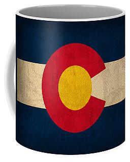 Colorado State Flag Art On Worn Canvas Coffee Mug
