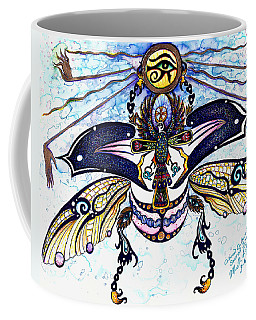 Colored Cultural Zoo B Sacred Scarab Coffee Mug by Melinda Dare Benfield