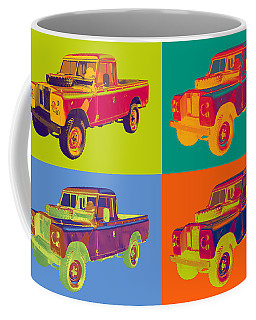 Colorful 1971 Land Rover Pick Up Truck Pop Art Coffee Mug