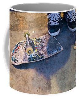 Colorful Busted Skateboard With Shoes  Coffee Mug