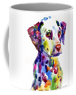 Colorful Dalmatian Puppy Dog Portrait Art Coffee Mug by Svetlana Novikova