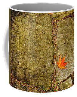 Colorful Fall Leaf On Stone Coffee Mug