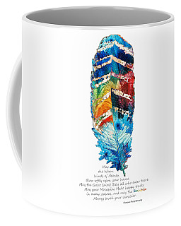 Colorful Feather Art - Cherokee Blessing - By Sharon Cummings Coffee Mug