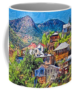 Colorful Houses Old Miners Shacks Bisbee Arizona - Higgledy Piggledy Town Coffee Mug by Rebecca Korpita