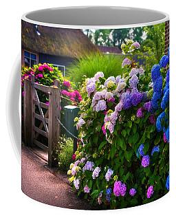 Colorful Hydrangea At The Gate. Giethoorn. Netherlands Coffee Mug