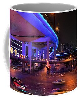 Colorful Night Traffic Scene In Shanghai China Coffee Mug