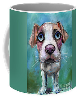 Colorful Pit Bull Puppy With Blue Eyes Painting  Coffee Mug