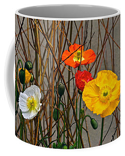 Colorful Poppies And White Willow Stems Coffee Mug