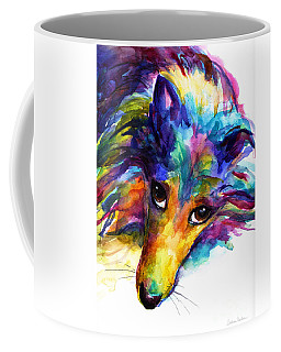 Colorful Sheltie Dog Portrait Coffee Mug by Svetlana Novikova
