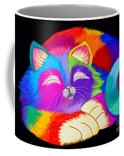 Colorful Sleeping Rainbow Cat Coffee Mug by Nick Gustafson