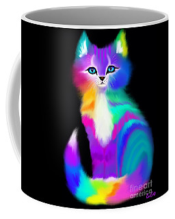 Colorful Striped Rainbow Cat Coffee Mug by Nick Gustafson