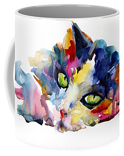 Colorful Tubby Cat Painting Coffee Mug by Svetlana Novikova