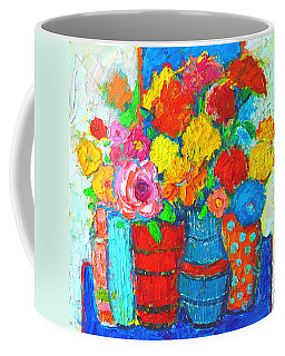 Colorful Vases And Flowers - Abstract Expressionist Painting Coffee Mug
