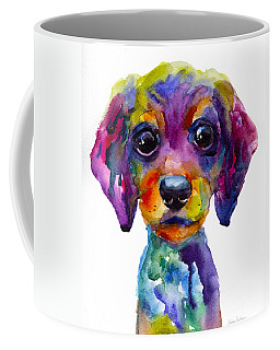 Colorful Whimsical Daschund Dog Puppy Art Coffee Mug