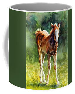 Coffee Mug featuring the painting Colt In Green Pastures by Bonnie Rinier