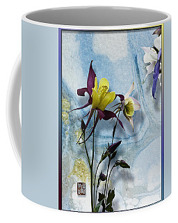 Columbine Blossom With Suminagashi Ink Coffee Mug by Peter v Quenter