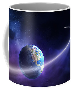 Comet Moving Past Planet Earth Coffee Mug