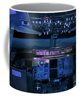 Coffee Mug featuring the photograph Commercial Airplane Cockpit By Night by Gunter Nezhoda