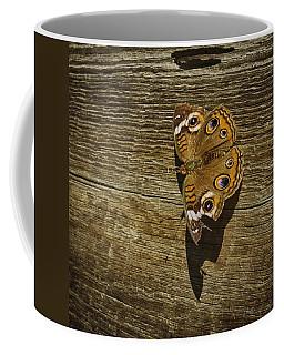 Common Buckeye With Torn Wing Coffee Mug by Lynn Palmer