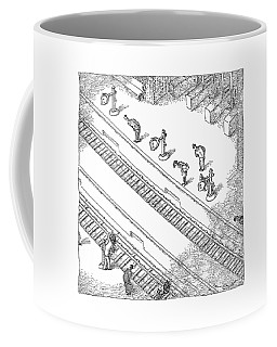 Commuters Are Seen Standing On A Train Station Coffee Mug