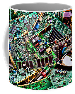 Coffee Mug featuring the photograph Computer Parts by Olivier Le Queinec