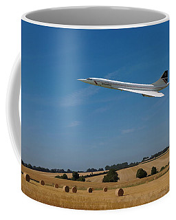 Coffee Mug featuring the digital art Concorde At Harvest Time by Paul Gulliver