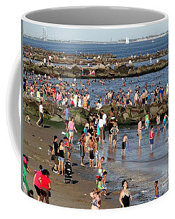 Coffee Mug featuring the photograph Coney Island Rocks by Ed Weidman
