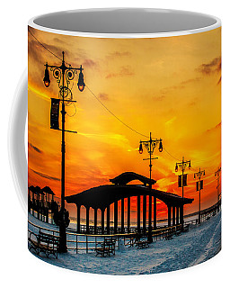 Coffee Mug featuring the photograph Coney Island Winter Sunset by Chris Lord