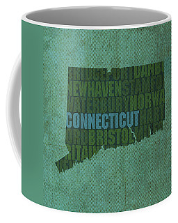 Connecticut Word Art State Map On Canvas Coffee Mug