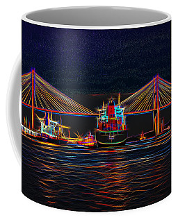 Container Ship Arriving At Savannah Coffee Mug by John M Bailey