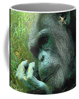 Coffee Mug featuring the photograph Contemplative Chimp by Rodney Lee Williams