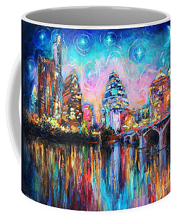 Contemporary Downtown Austin Art Painting Night Skyline Cityscape Painting Texas Coffee Mug