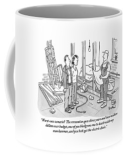 Contractor Examining A Blueprint And Speaking Coffee Mug by Robert Leighton